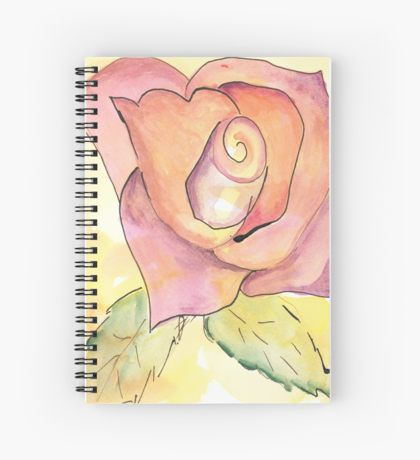 Watercolor Rose Spiral Notebook by Ailan Olsen