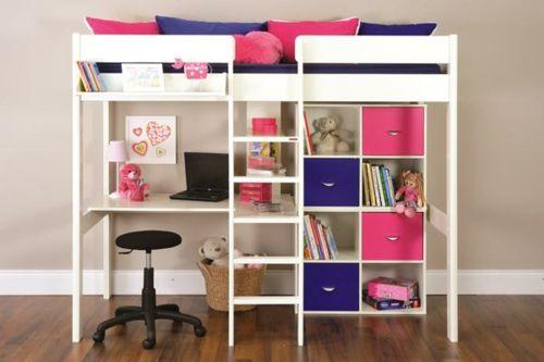 Hochbett Etagenbett Mit Schreibtisch : Kinder hochbett mit schreibtisch und lagerschränken ausgestattet