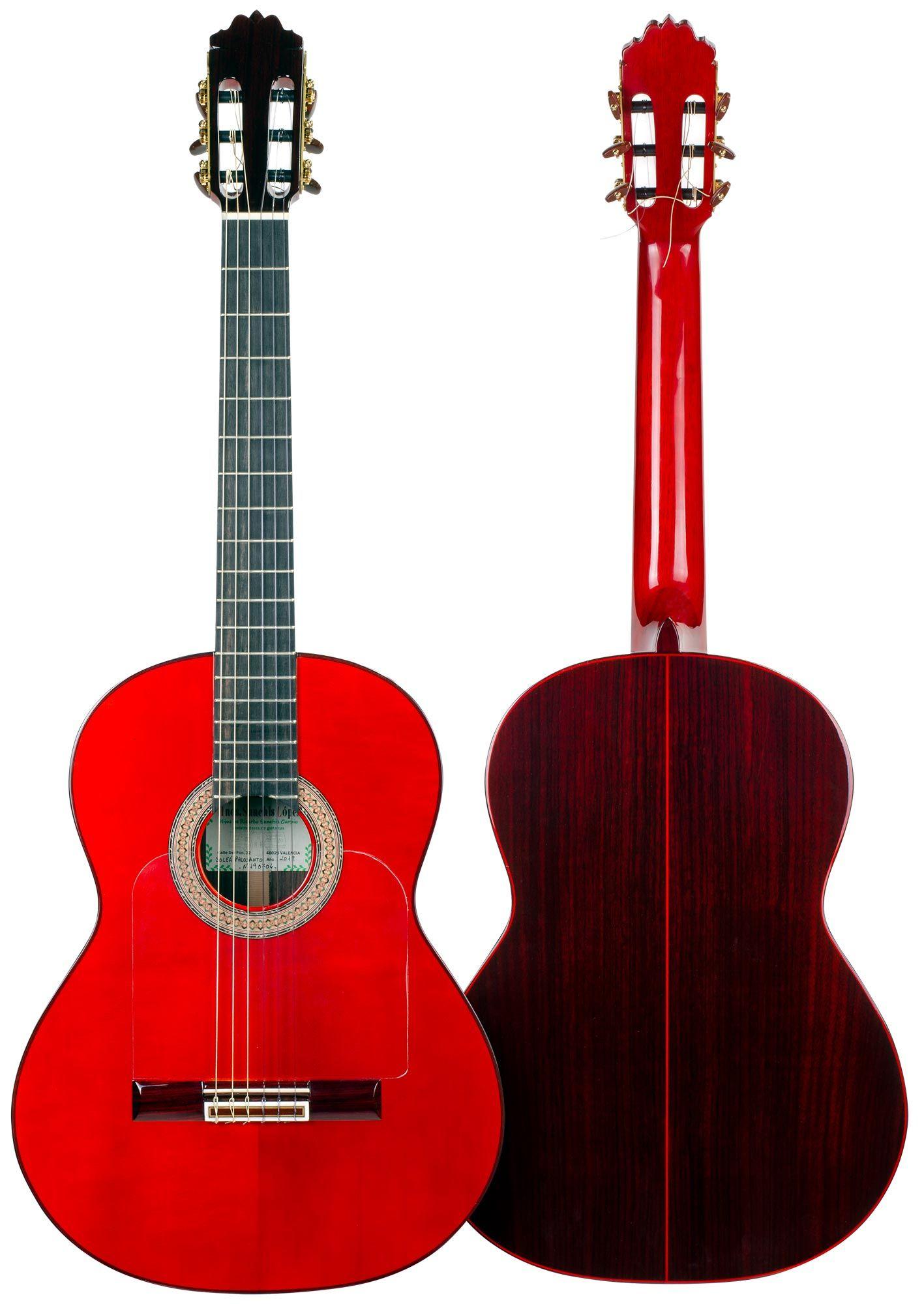 Hermanos Sanchis Lopez Guitarra Flamenca Soleá Palosanto Roja Guitarras Flamenco Rojo