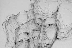 Line Drawing Portrait Artists : An imaginary portrait continuous line drawing with wire fiona