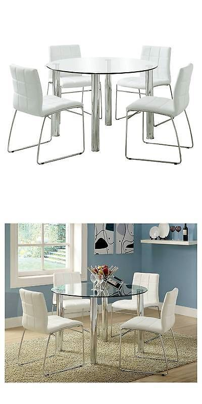 Sets 98478 5 Piece Glass Top Chrome Leg Round Dining Table Set