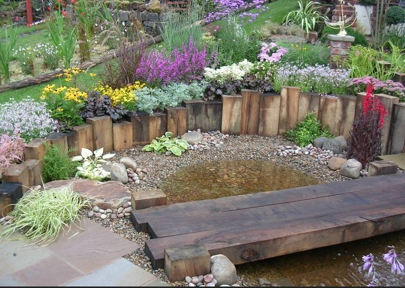 Sleeper bridge wall for pond garden ideas pinterest for Garden pond design using sleepers