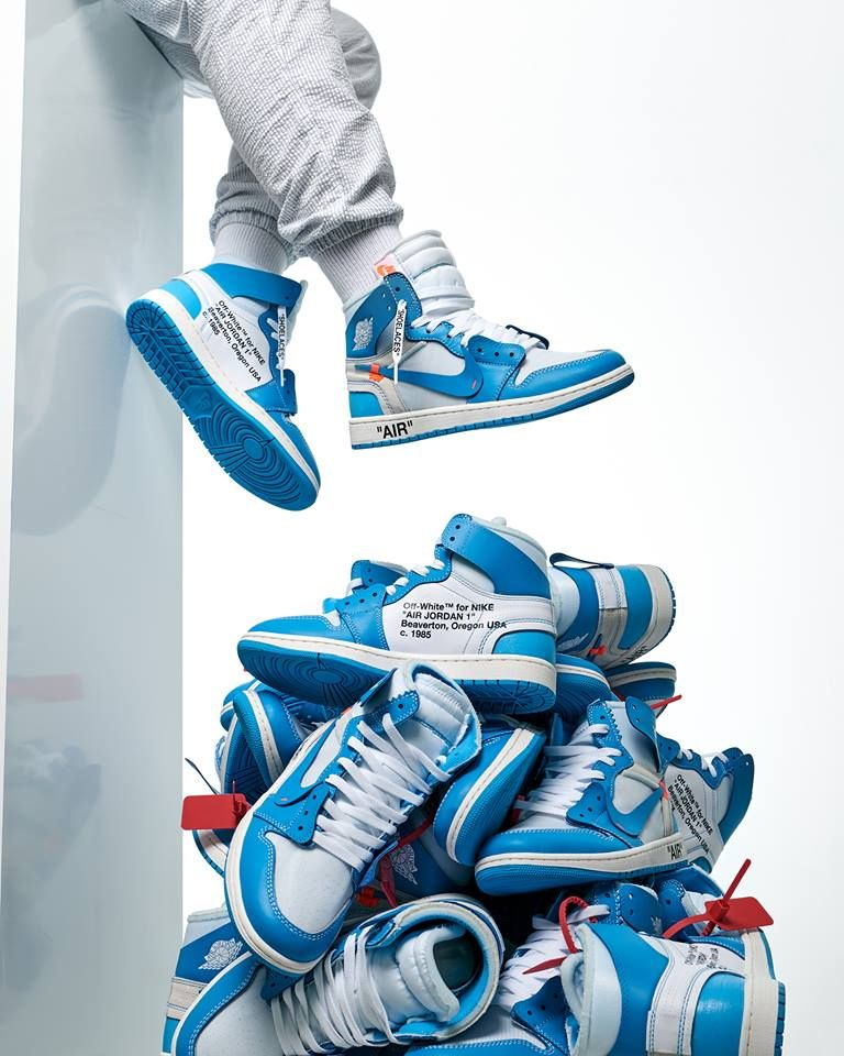 Off White X Air Jordan 1 Unc Blue Hype Shoes Sneakers Off