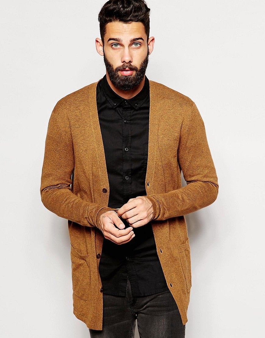 ASOS Longline Cardigan in Orange Twist Cotton | Fashioning Man ...