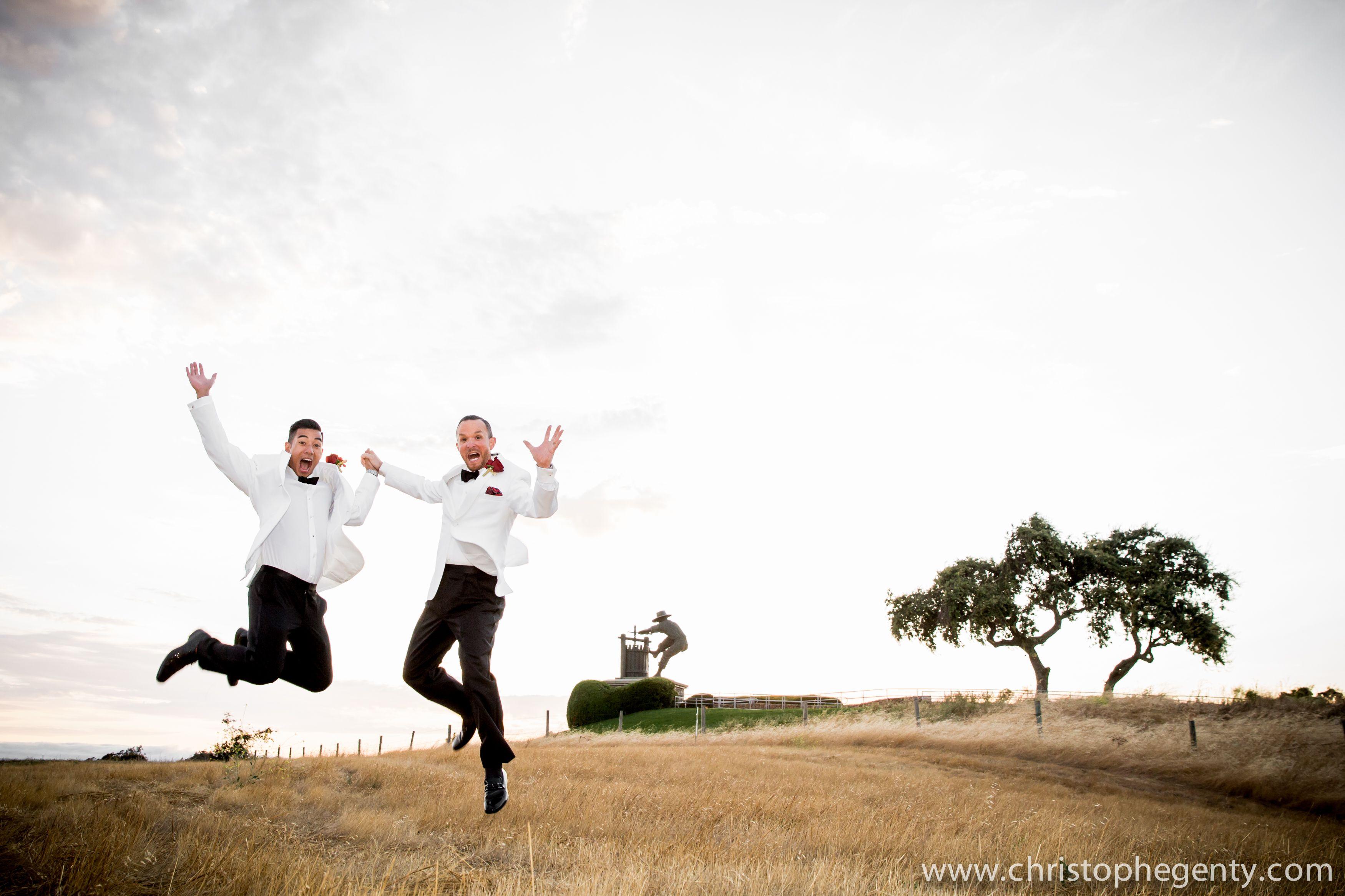 Jumping with joy wedding photo | Julius and Kristian\'s vineyard ...