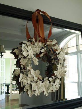 Leaf garland wreath spray painted white