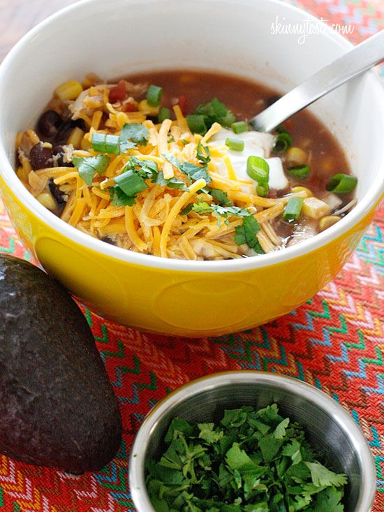 Crock Pot Chicken Enchilada Soup.Everything I love about chicken enchiladas... in a bowl! I love turning classic meals into soups lately, it's an easy (maybe even lazy) way to make a meal and it doesn't require dirtying too many pots    http://www.skinnytaste.com/2011/12/crock-pot-chicken-enchilada-soup.html