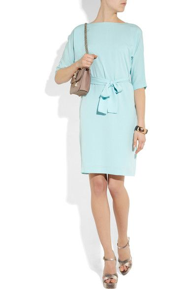 Aqua silk-crepe Half sleeves, detachable sash tie at waist, lined through body and skirt Snap fastenings through back 100% silk; lining: 100% polyester Designer color: Cool Aqua Dry clean