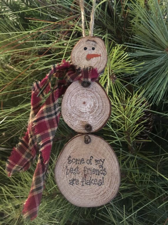 Primitive Christmas Natural Wood Slice Snowman by PrimitivePics