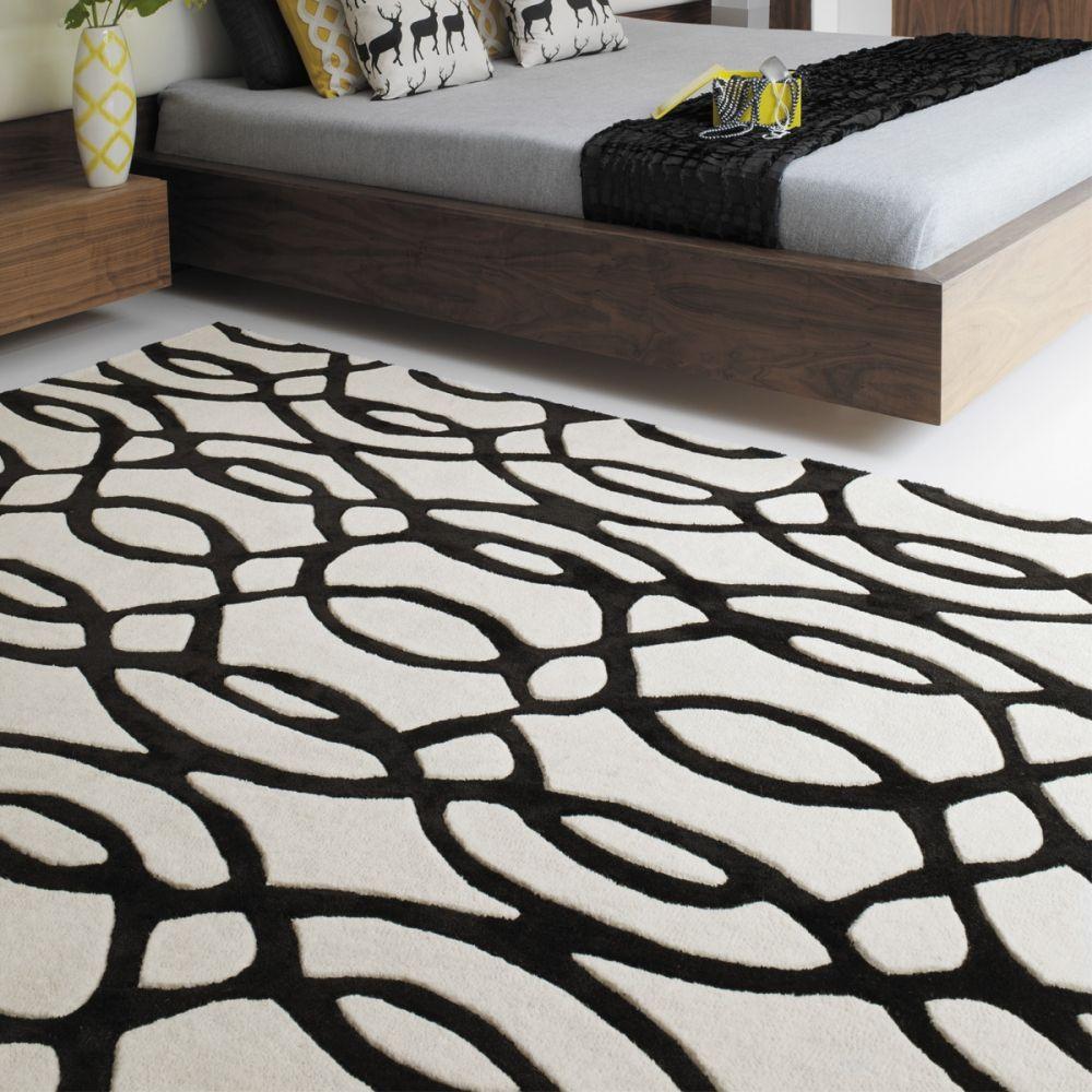 tapis design noir et blanc en laine