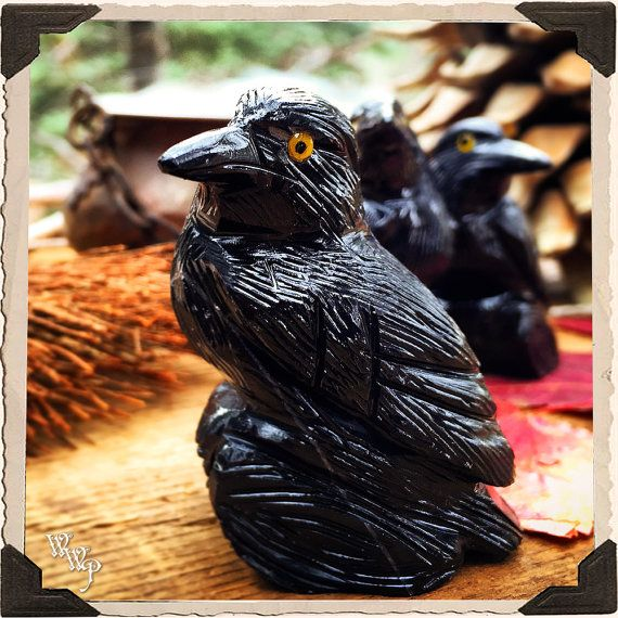 BLACK ONYX RAVEN. Animal Totem. Protection, Grounding, Detox, Psychic Attack, Empaths, Magick, Shadow Work, Negative Energy, Wisdom, Occult   www.whitewitchparlour.com