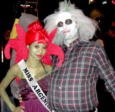 Homemade Miss Argentina and Beetlejuice Couple Costume The hardest part of putting the costumes together was my cape. It took me a couple weeks to figure ...  sc 1 st  Pinterest & Coolest Homemade Miss Argentina and Beetlejuice Couple Costume ...