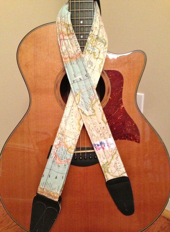 Guitar Strap Handmade World Map Guitar Strap Guitar Handmade