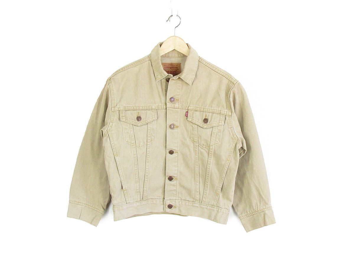 Vintage Tan Levis Jacket 90s Levis Denim Jacket Light Beige Jean Jacket Womens M Vintage Denim Jean Jacket Women Levi Denim Jacket