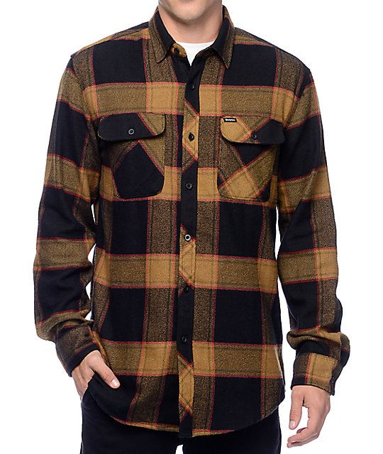 272d71b2c97 Brixton Bowery Black   Gold Flannel Button Up Shirt in 2019