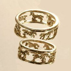 Set Of Galloping Horse Wedding Rings