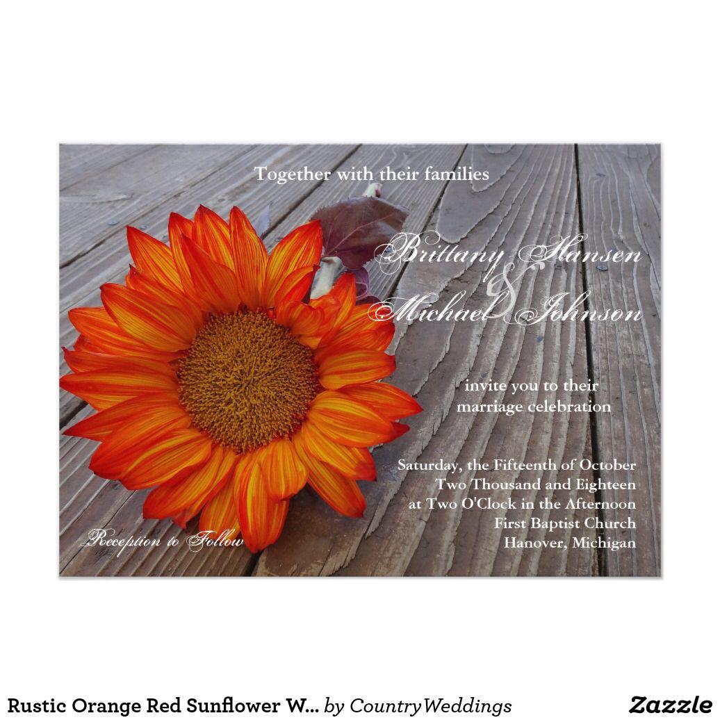 Rustic Orange Red Sunflower Wedding Invitation | Rustic Country ...