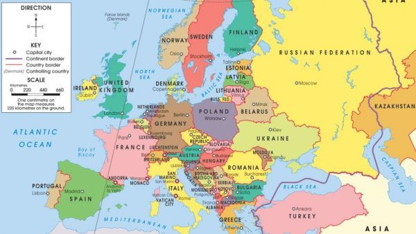 cool Map of europe capitals | Holidaymapq | Pinterest | United states