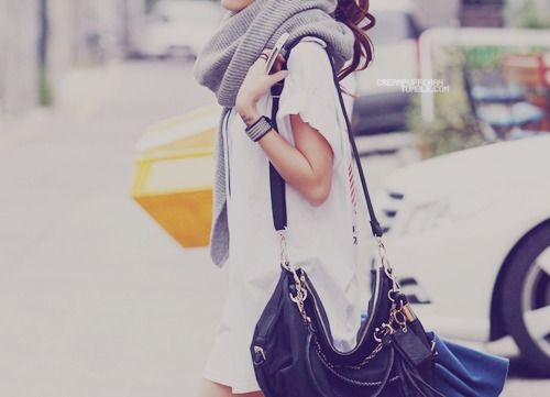 scarves + leather bags