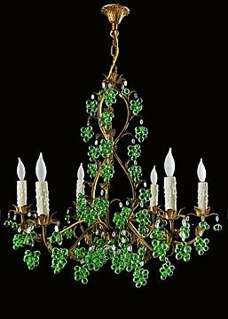 Italian gilt tole chandelier with green glass chandelier italian gilt tole chandelier with green glass mozeypictures Image collections