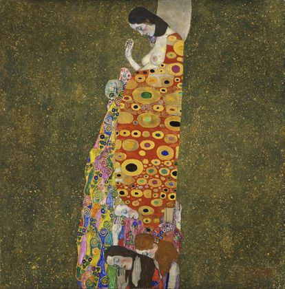 Gustav Klimt is one of my favorite artists. This piece, featuring a pregnant woman, is titled Hope, II.