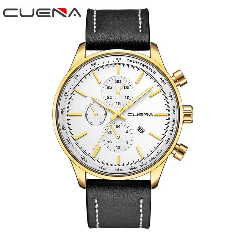 1428fa1e3 CUENA Fashion Sports Men Watches Top Brand Luxury Leather Waterproof Quartz  Wristwatches Relojes Hours Clocks Relogio Masculino