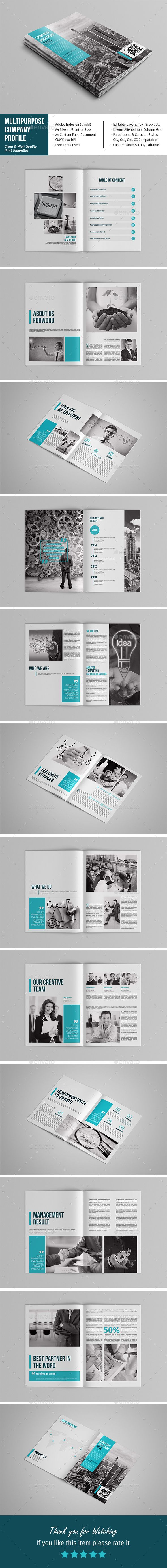 Multipurpose Company Profile — InDesign Template • Only available ...