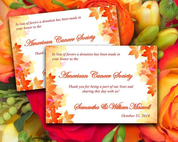 Wedding Favor Donation Card Diy Template Watercolor Fall Burnt Orange Red