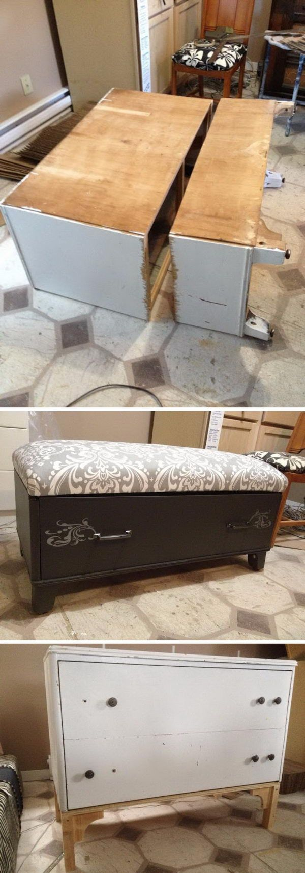 Dresser to Bathroom Vanity and Bench.   furniture upcycling   Pinterest