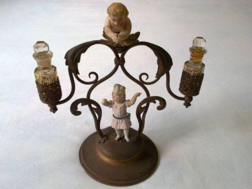 Antique Palais Royal French Ormolu Cut Glass Perfume Bottle Figural Brass Stand | eBay