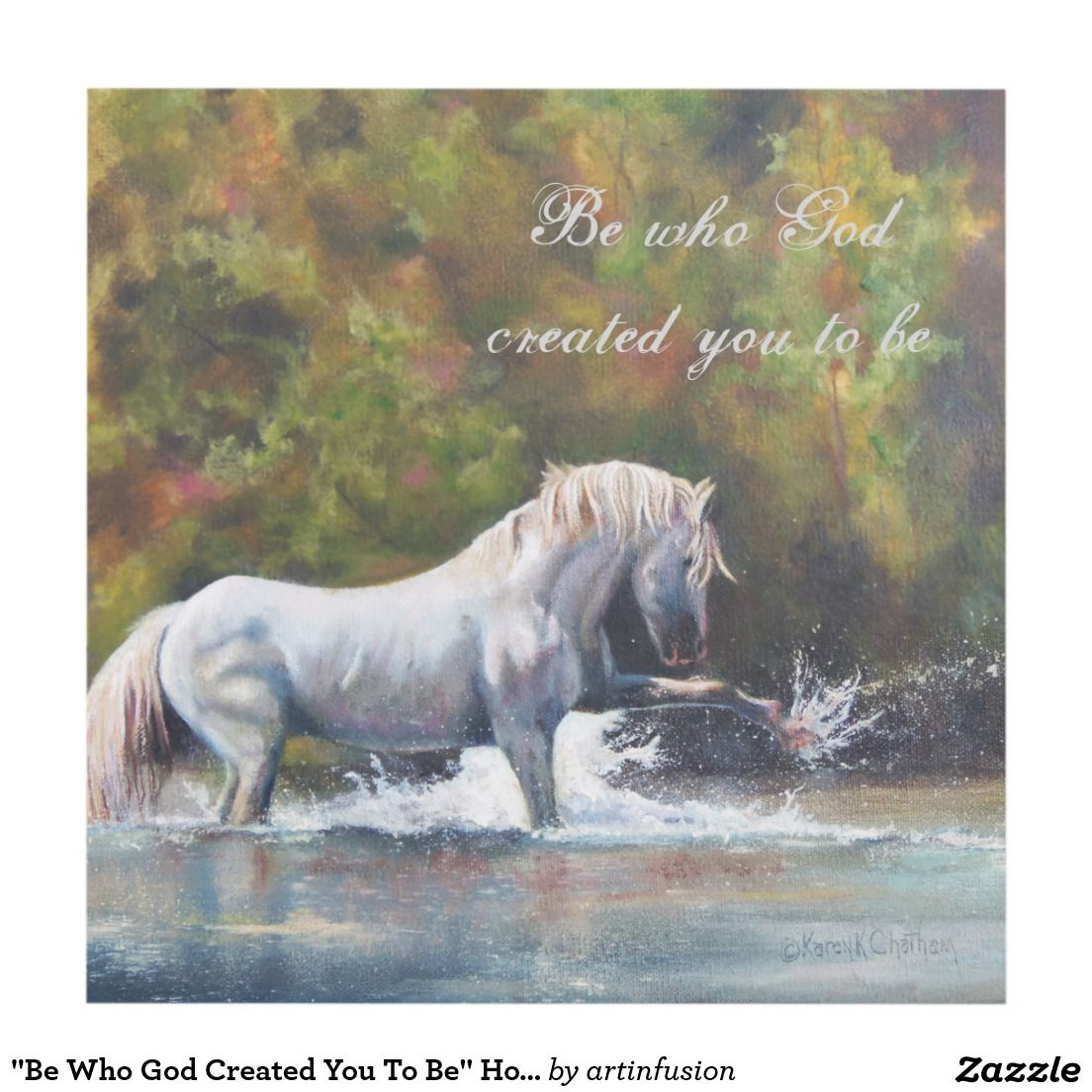 """Be Who God Created You To Be"" Horse Art Wood Wall Art"