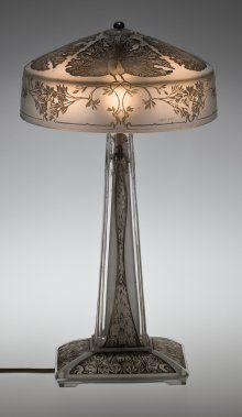 Lalique   Table Lamp, Paons (Peacocks), Designed 1910. Mold Pressed Glass,  Acid Etched, Applied Patina; Electric Light Fittings. H. 39.8 Cm, Diam.  21.9 Cm.