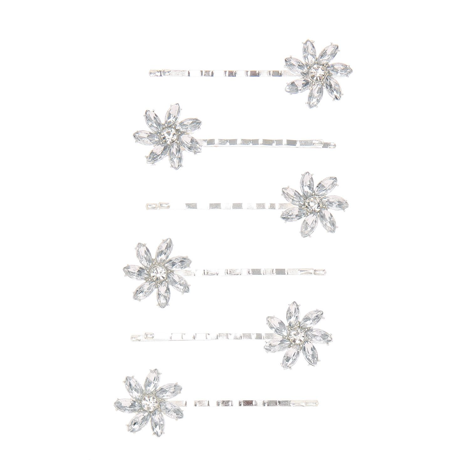 <P>Add dazzling flowers to your hair with these crystal bobby pins. They are the perfect accessory for any party. Long silver bobby pins decorated with crystal flowers.</P> - <UL> - <LI>Silver tone finish - <LI>Set of 6 - <LI>Crystal flower design</LI></UL>
