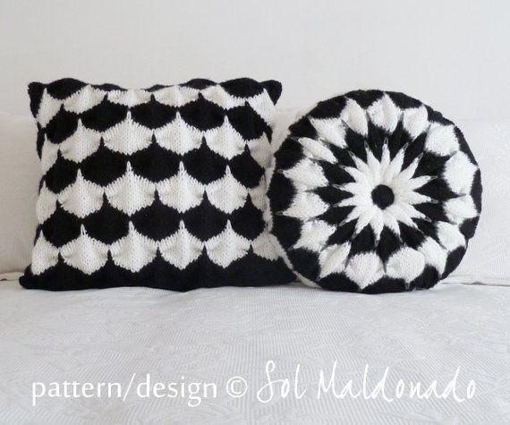 KNIT Pillow PATTERN round Pillow knit pattern Pinwheel - round cushion unique knitting stitch - knit pattern pillow photo tutorial cushion