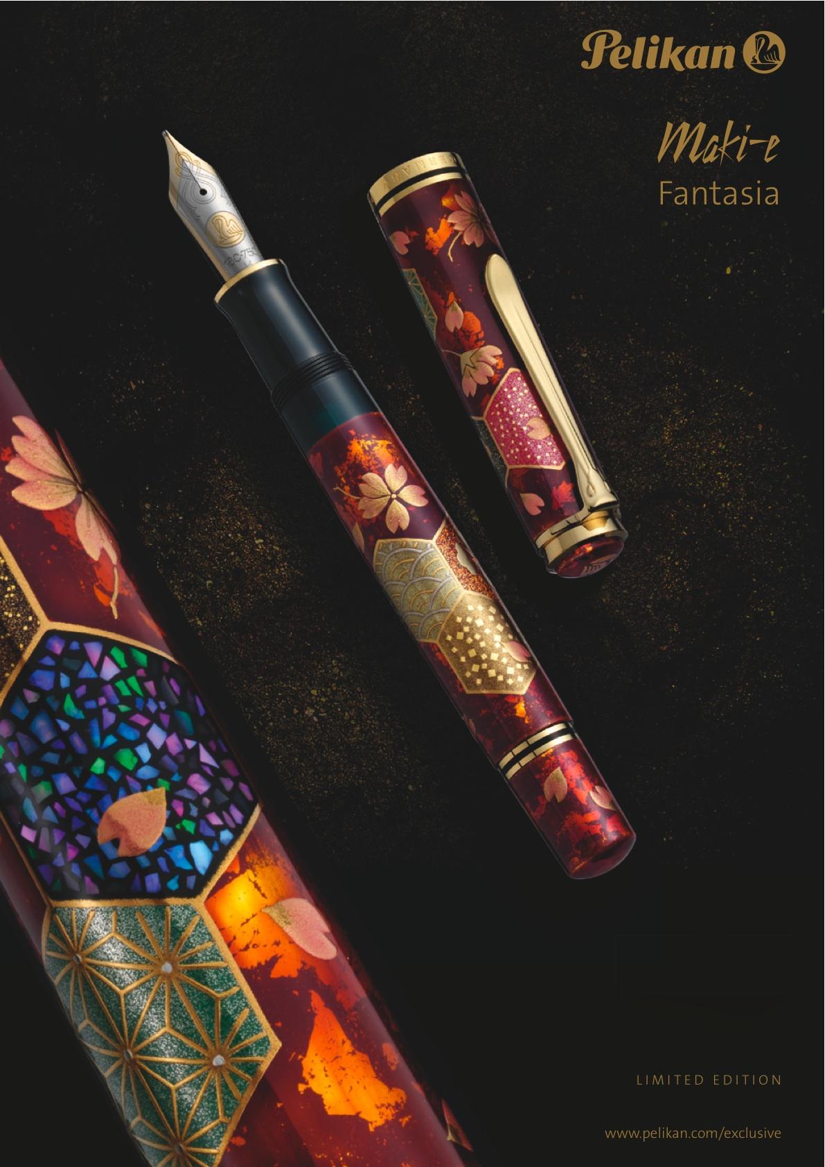 """Pelikan Maki-e Fantasia Pluma estilográfica Maki-e inusual y de deslumbrante belleza. La Fantasía representa un diseño tradicional japonés llamado """"patrón Komon"""", que se utiliza comúnmente para elegantes kimonos japoneses."""