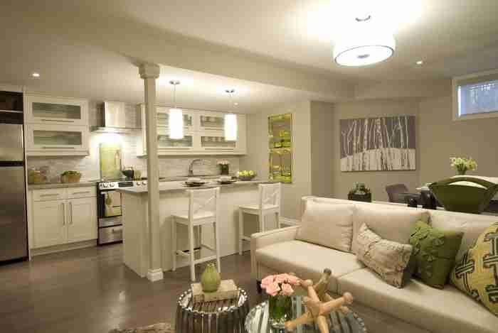 Basement Apartment Space Saving Ideas Basement Apartment Open Concept Kitchen Living Room Small Modern Apartment Living Room Open Concept Kitchen Living Room
