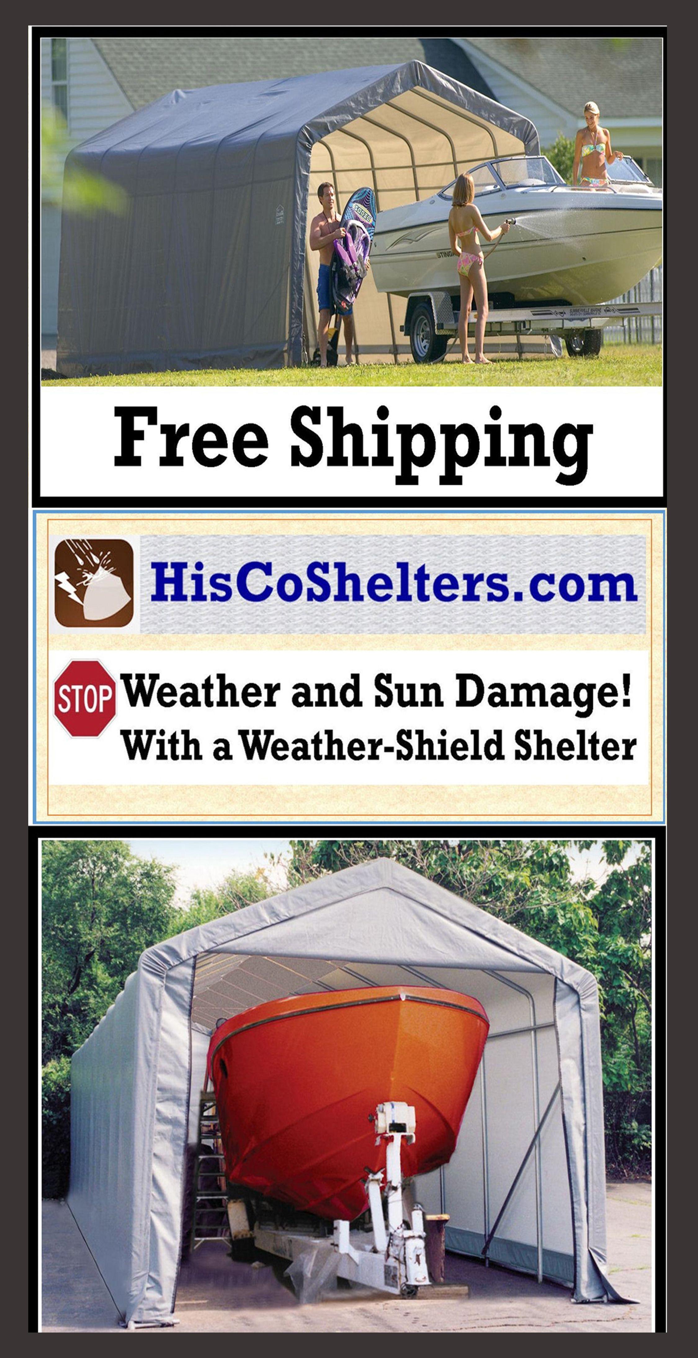 Weather-Shield Shelter Portable Boat Garage **Peak & Round ...