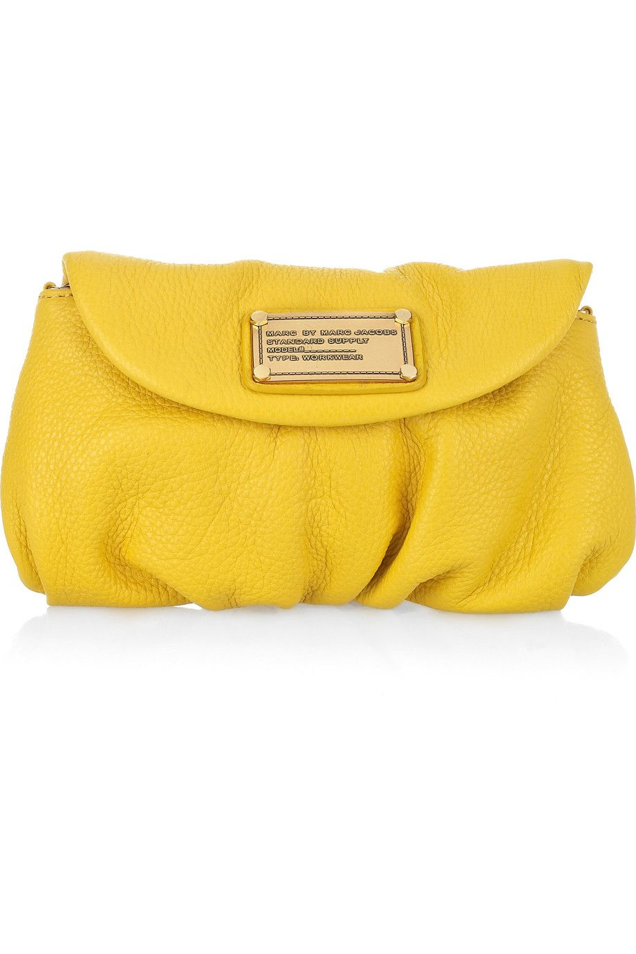Bright yellow Karlie leather clutch   Marc by Marc Jacobs   Yellow ...