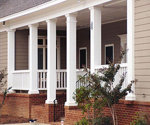 Small Front Porch Column Ideas: Square Fiberglass Porch Columns