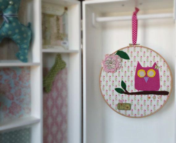 Pink owl on a branch hoop art  kid's room wall decor  by Renouitas