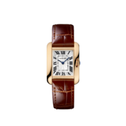 Tank Anglaise watch, small model Quartz, pink gold, leather