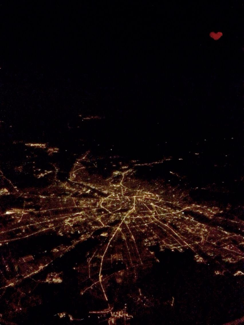 The view over night Budapest from the plane