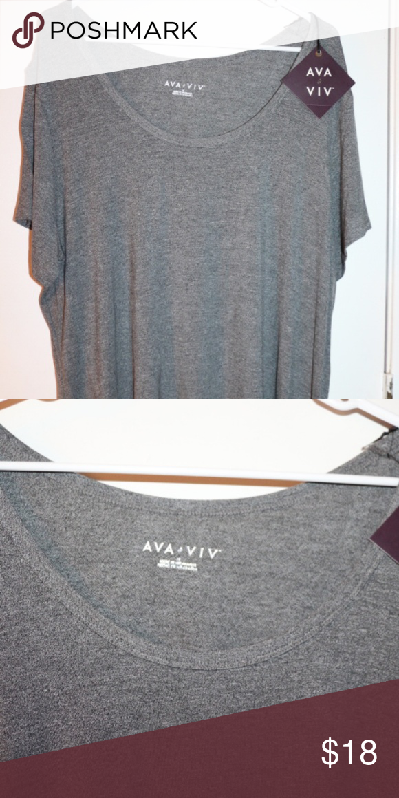 086615183c0 AVA VIV 1X GRAY NWT ACTIVE TEE OFFERS WELCOME The brand is AVA VIV and it