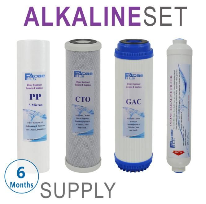 6 Months Alkaline Reverse Osmosis Under Sink Replacement Filter Sets 4 Filters 10 Pp G Water Filter Cartridge Water Filtration System Replacement Filter