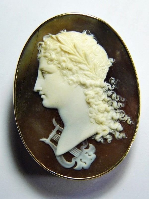 Superb Antique Victorian Italian 9K Gold Natural Shell Cameo Brooch Orpheus Lyre | eBay