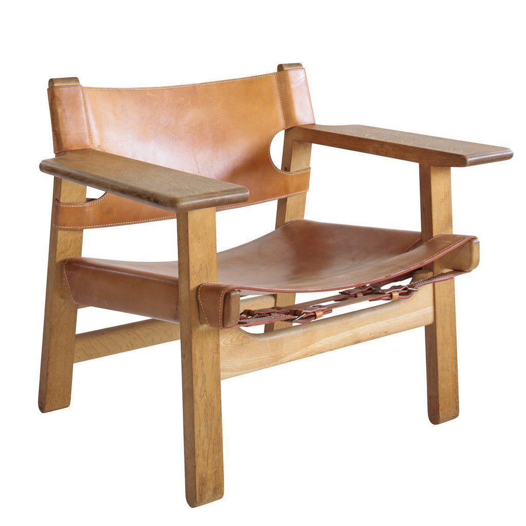 Borge Mogensen Spanish Chair In Natural Leather And Oak Spanish Chairs Old Chair Beach Chair Umbrella
