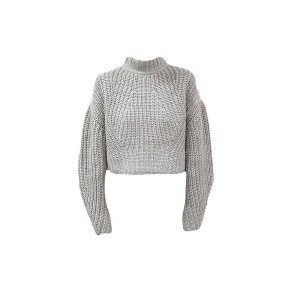 Knit Cropped Lantern Sweater (€45) ❤ liked on Polyvore featuring tops, sweaters, jumpers, long sleeves, cropped knit sweater, long sleeve knit sweater, long sleeve tops, cropped sweater and long sleeve knit tops