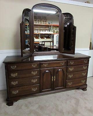Ethan Allen Georgian Court Cherry Triple Dresser And Tri Fold
