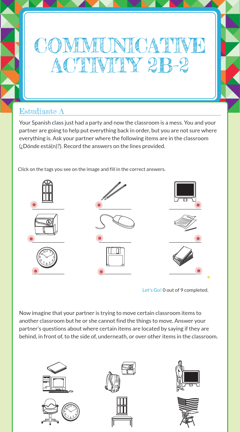 Wizer Me Blended Worksheet Communicative Activity 2b 2 Blends Worksheets Activities Spanish Resources [ 1380 x 768 Pixel ]