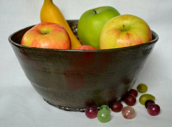 Large Ceramic Fruit Bowl 9 Cup Barn Red Brown By Ashleybethpottery